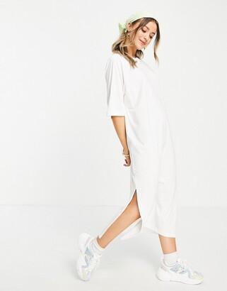 Monki Kenny organic cotton midi t-shirt dress in white
