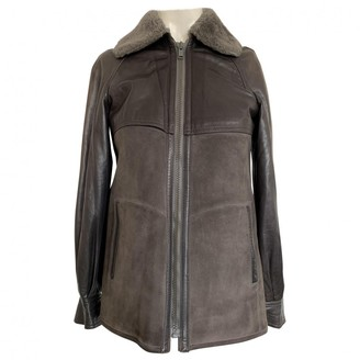 Non Signé / Unsigned Non Signe / Unsigned Grey Leather Jacket for Women Vintage