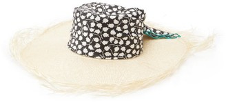 Avenue The Label - Luna Floral-satin And Straw Hat - Womens - Black And White