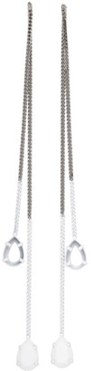 MM6 MAISON MARGIELA Silver and White Missing Stone Chain Earrings