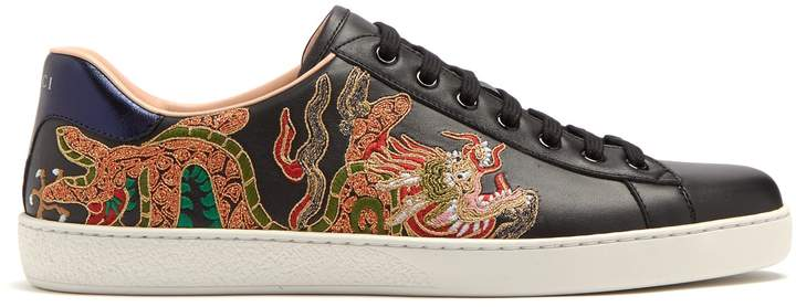 Gucci Ace dragon-embroidered low-top leather trainers