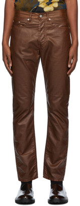 Dries Van Noten Brown Coated Cotton Trousers