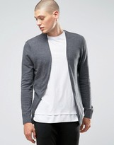 Asos Cotton Buttonless Cardigan in Charcoal
