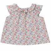 Marie Chantal Baby Girl Mini Liberty Floral Ruffle Neck Blouse - Pink/Grey