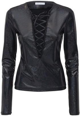 Saks Potts Herm Shimmer Stretch Jersey Lace-up Top
