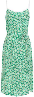 HVN Susan Belted Floral-print Silk Crepe De Chine Dress