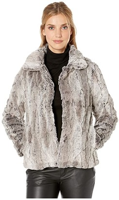 Dylan by True Grit Melange Textured Faux Fur Plush Jacket with Soft Knit Lining (Heather/Brown) Women's Clothing