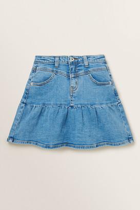 Seed Heritage Ruffle Denim Skirt