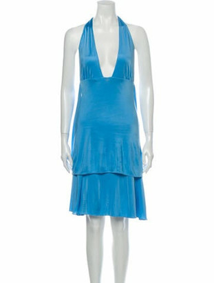 Versace Halterneck Knee-Length Dress Blue
