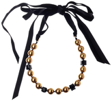 Adele Marie Faux Pearl Velvet Ribbon Tie Necklace