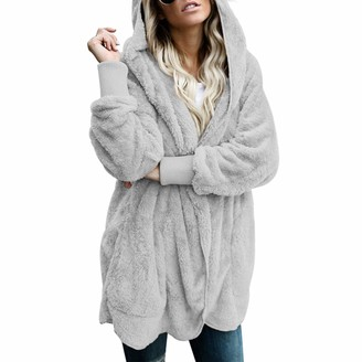 Jywmsc Women Fluffy Hooded Coat Solid Color Long Sleeve Soft Cardigan Casual Outwear with Pockets Grey