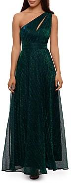 Aqua One Shoulder Crinkled Metallic Gown - 100% Exclusive