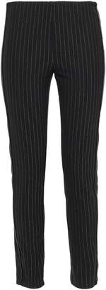 DKNY Faux Leather-trimmed Metallic Pinstriped Woven Leggings