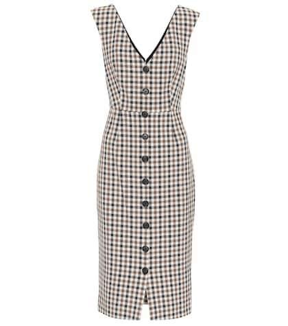 Veronica Beard Lark checked cotton-blend dress