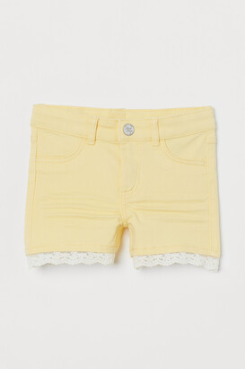 H&M Lace-trimmed Twill Shorts