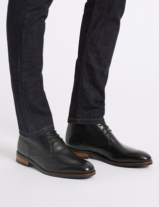 Marks and Spencer Wide Leather Lace-up Chukka Boots