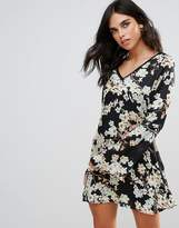 WYLDR Wyldr Show Me The Way Magic Flower Printed Tea Dress With Trim Inserts
