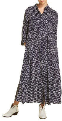 Marina Rinaldi Plus Size Dakar Ikat 3/4-Sleeve Button-Down Long Dress