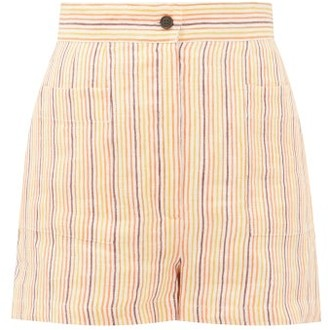 Three Graces London Osmo Striped Linen Shorts - Multi