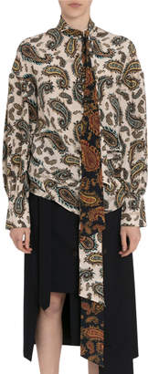 Rokh Paisley Silk Tie-Neck Blouse