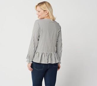 Denim & Co. Yarn Dyed Striped Peplum Jacket