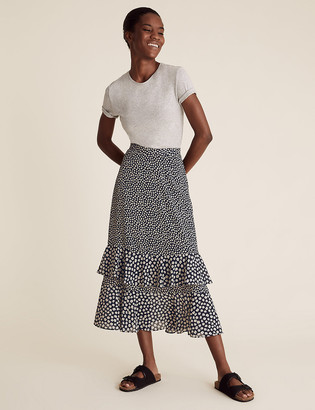 Marks and Spencer Ditsy Floral Ruffle Midi Tiered Skirt