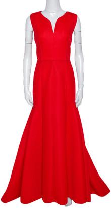 Carolina Herrera CH Red Tricot Mesh Sleeveless Gown L