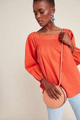 Maeve Jessie Smocked Swing Blouse By in Orange Size S