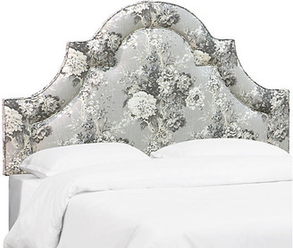 One Kings Lane Kennedy Arched Headboard - Platinum Floral Linen - Cal King
