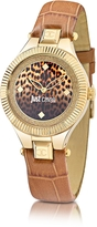 Just Cavalli Just Indie Stainless Steel Women's Watch w/Brown Leather Strap