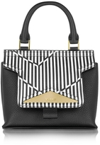 Vionnet Mosaic 20 Orchid White & Black Optical Print Leather Mini Satchel Bag w/Shoulder Strap