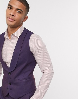 Asos DESIGN wedding skinny wool mix suit suit vest in soft berry twill