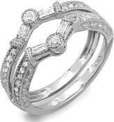 DazzlingRock Collection 0.55 Carat (ctw) 14k White Gold Round & Baguette Diamond Ladies Anniversary Wedding Enhancer Guard Band 1/2 CT (Size 9)