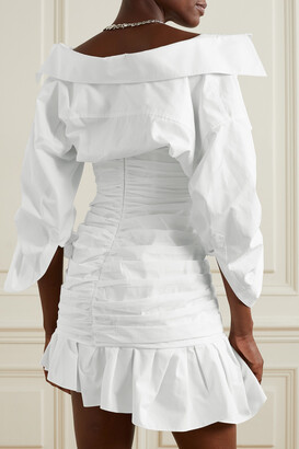 Alexander Wang Asymmetric Ruched Cotton-poplin Mini Shirt Dress - White
