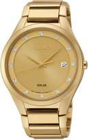 Seiko Men's Solar Diamond Accent Gold-Tone Stainless Steel Bracelet Watch 39mm SNE384