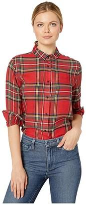 Pendleton Helena Button Front Shirt (Red Tartan Plaid) Women's Clothing
