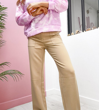 4th + Reckless Petite tailored trouser in camel