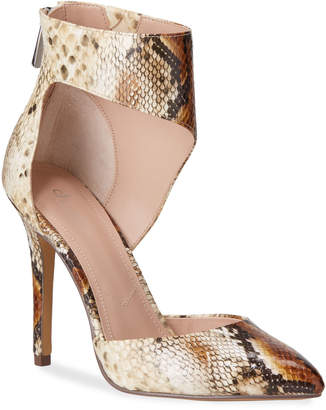 Charles by Charles David Proud Snake-Print Ankle-Cuff Pumps