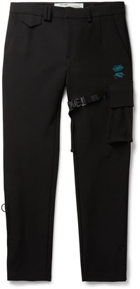 Off-White Slim-Fit Appliqued Stretch-Scuba Suit Trousers