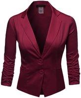 Awesome21 Basic Solid Color Sherring Sleeve Boyfriend Plus Size Blazer Burgundy Size 2XL