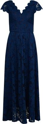 Wallis **Jolie Moi Navy V Neck Lace Maxi Dress