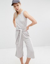 Daisy Street Jumpsuit In Rib With Tie Waist