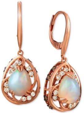 LeVian Le Vian Neopolitan Opal (1-3/4 ct. t.w.), Nude Diamond (1/4 ct. t.w.), and Chocolate Diamond (1/3 ct. t.w.) Drop Earrings in 14k Rose Gold