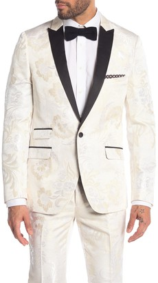 Paisley & Gray Grosvenor White Floral Pattern One Button Peak Lapel Tuxedo Jacket