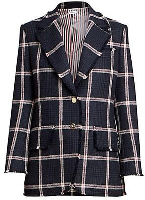 Thom Browne Prince of Wales Tweed Frayed Sport Coat