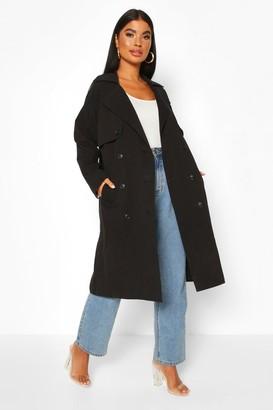 boohoo Petite Check Detail Trench Coat