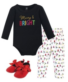 Hudson Baby Baby Girls Merry Bright Bodysuit, Pant and Shoe Set, Pack of 3