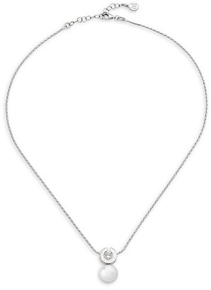 Majorica Exquisite 10MM White Round Faux Pearl and Cubic Zirconia Necklace