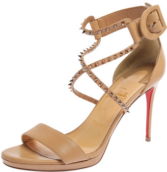 Christian Louboutin Beige Spike Ankle Strap Sandals Size 38.5