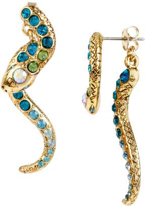 Betsey Johnson Ocean Drive Pave Crystal Snake Front and Back Linear Earring